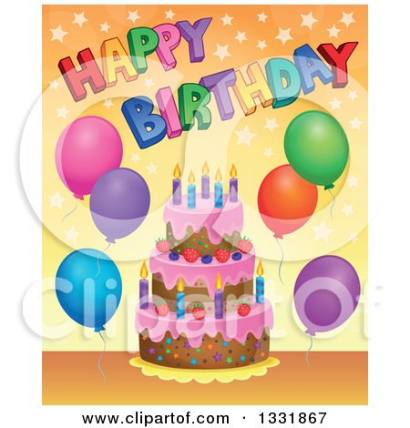 Clipart of a Cartoon Cake with Colorful Stars, Party Balloons and Happy Birthday Text over Orange - Royalty Free Vector Illustration by visekart