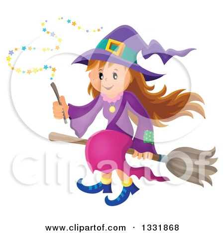 Clipart of a Happy Halloween Witch Girl Sitting on a Broom and Holding a Magic Wand - Royalty Free Vector Illustration by visekart