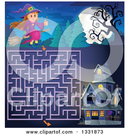 Clipart of a Happy Halloween Witch Girl Sitting on a Broom and Holding a Magic Wand over a Maze to a Haunted House - Royalty Free Vector Illustration by visekart