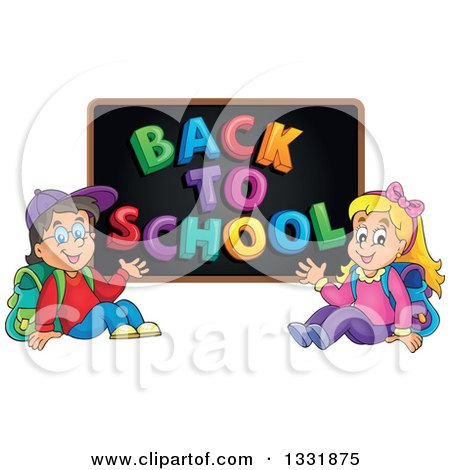Clipart of a Caucasian Boy and Girl Waving and Sitting Under a Back to School Black Board - Royalty Free Vector Illustration by visekart