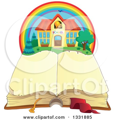 Clipart of a School Building in a Rainbow over an Open Book - Royalty Free Vector Illustration by visekart