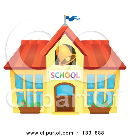 Clipart of a School Building with a Ringing Bell - Royalty Free Vector Illustration by visekart