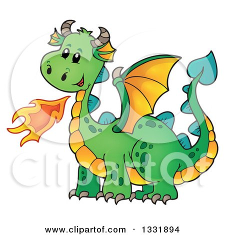 Clipart of a Cartoon Green Fire Breathing Dragon - Royalty Free Vector Illustration by visekart