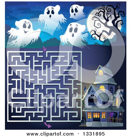Clipart of a Halloween Ghost, Full Moon and Haunted House Maze - Royalty Free Vector Illustration by visekart