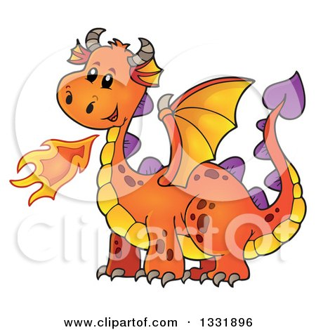 Clipart of a Cartoon Orange Fire Breathing Dragon - Royalty Free Vector Illustration by visekart
