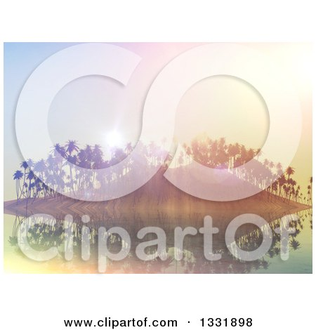 Clipart of a 3d Tropical Island with Palm Trees and Flares at Sunset - Royalty Free Illustration by KJ Pargeter