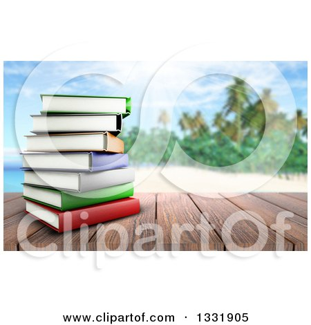 Clipart of a 3d Wood Table Top with a Stack of Books, Against a Blurred Sunny Sky with Clouds - Royalty Free Illustration by KJ Pargeter