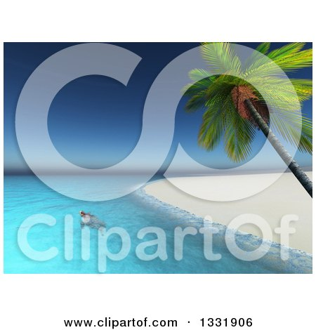 Clipart of a 3d Sea Turtle Swimming off of a Beach of a Tropical Island with a Palm Trees - Royalty Free Illustration by KJ Pargeter