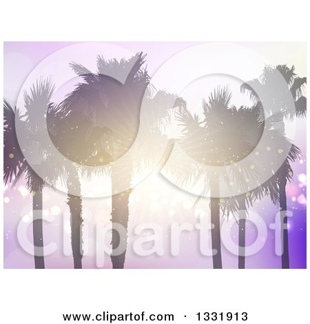 Clipart of a Background of Silhouetted Palm Trees with a Sunset Shining Through the Branches over Purple Flares - Royalty Free Vector Illustration by KJ Pargeter