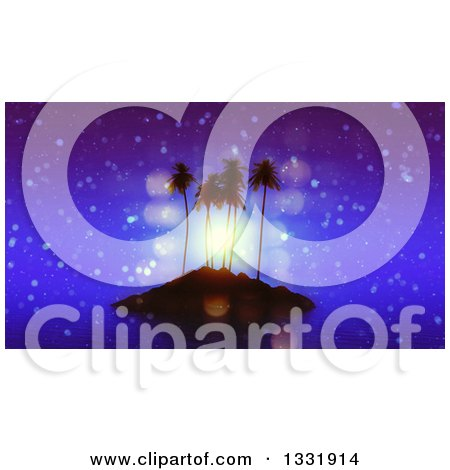 Clipart of a 3d Tropical Island Silhouetted with Palm Trees and Flares at Night - Royalty Free Illustration by KJ Pargeter