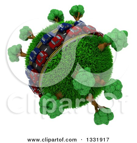Clipart of 3d Blue and Red Cars on a Roadway Around a Grassy Planet with Trees, on White - Royalty Free Illustration by KJ Pargeter