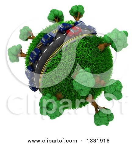 Clipart of 3d Blue and Red Cars on a Roadway Around a Grassy Planet with Trees, on White 2 - Royalty Free Illustration by KJ Pargeter