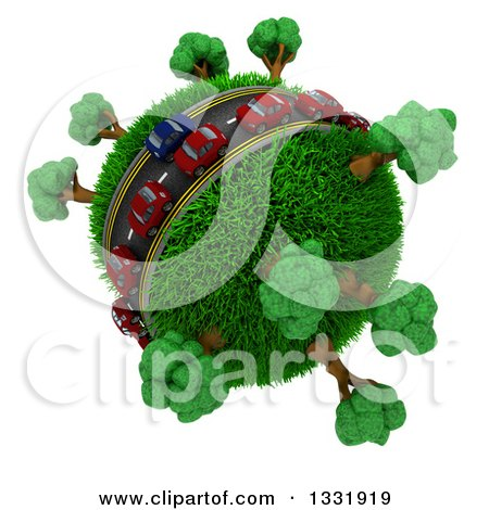 Clipart of 3d Blue and Red Cars on a Roadway Around a Grassy Planet with Trees, on White 3 - Royalty Free Illustration by KJ Pargeter