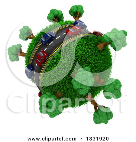 Clipart of 3d Blue and Red Cars on a Roadway Around a Grassy Planet with Trees, on White 4 - Royalty Free Illustration by KJ Pargeter