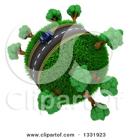 Clipart of a 3d Lone Blue Car on a Roadway Around a Grassy Planet with Trees, on White - Royalty Free Illustration by KJ Pargeter