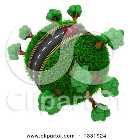 Clipart of a 3d Lone Red Car on a Roadway Around a Grassy Planet with Trees, on White - Royalty Free Illustration by KJ Pargeter