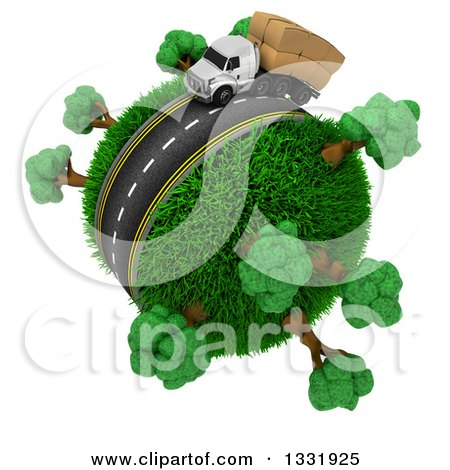 Clipart of a 3d Roadway with a Big Rig Trucks Loaded with Boxes, Driving Around a Grassy Planet with Trees, on White - Royalty Free Illustration by KJ Pargeter