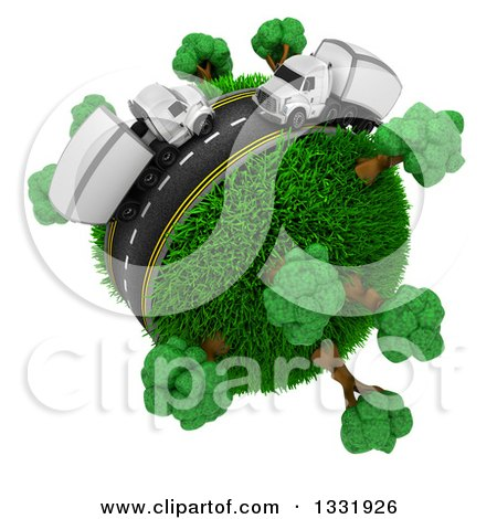 Clipart of a 3d Roadway with Big Rig Trucks Around a Grassy Planet with Trees, on White - Royalty Free Illustration by KJ Pargeter