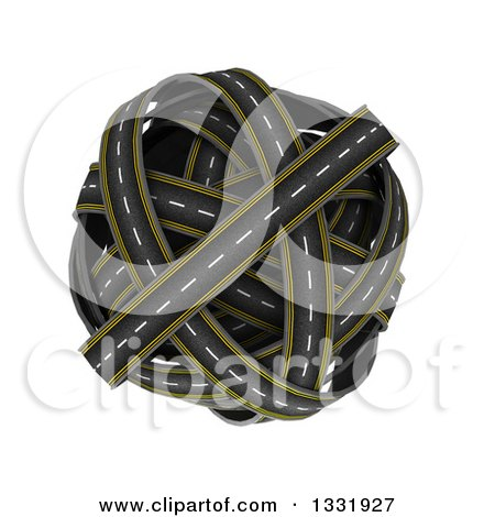Clipart of a 3d Globe Made of Roads, on White 2 - Royalty Free Illustration by KJ Pargeter