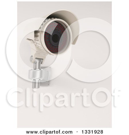 Clipart of a 3d White HD CCTV Security Surveillance Camera Mounted on a Wall, on off White - Royalty Free Illustration by KJ Pargeter