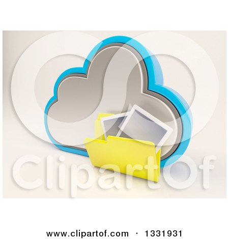 Clipart of a 3d Cloud Storage Icon with a Yellow Photo Folder, on off White - Royalty Free Illustration by KJ Pargeter