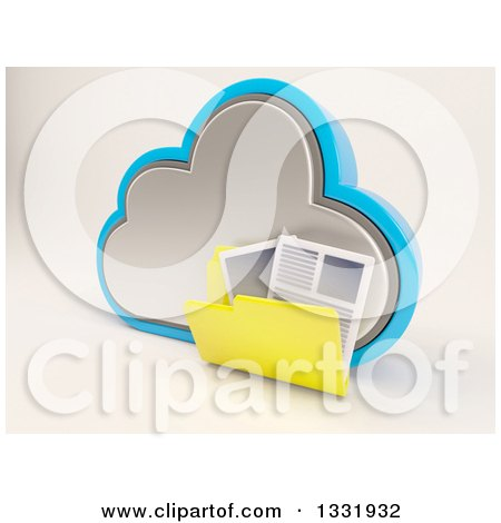 Clipart of a 3d Cloud Storage Icon with a Folder of Documents, on off White 2 - Royalty Free Illustration by KJ Pargeter