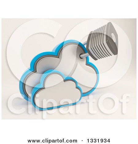 Clipart of a 3d Clouds Storage Icon with an Attached Padlock, on Shaded White - Royalty Free Illustration by KJ Pargeter