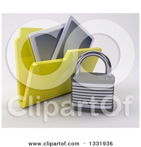 Clipart of a 3d Yellow File Folder with Pictures and a Padlock, on Shaded White - Royalty Free Illustration by KJ Pargeter