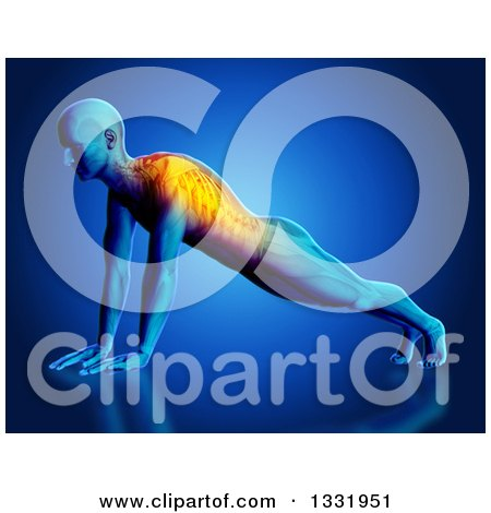 Clipart of a 3d Anatomical Man Stretching in a Yoga Pose, or Doing Push Ups, with Glowing Back Pain and Visible Skeleton, on Blue - Royalty Free Illustration by KJ Pargeter