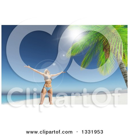 Clipart of a 3d Carefree Happy Caucasian Woman in a Bikini, Cheering on a Tropical Beach, with Flares - Royalty Free Illustration by KJ Pargeter