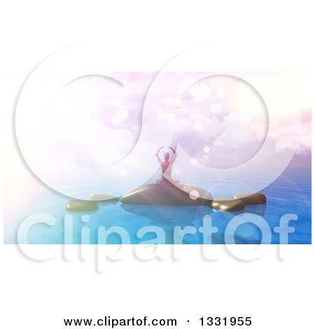 Clipart of a 3d Woman Doing Yoga on Rocks in the Ocean, with Vintage Flares and Colors Added - Royalty Free Illustration by KJ Pargeter