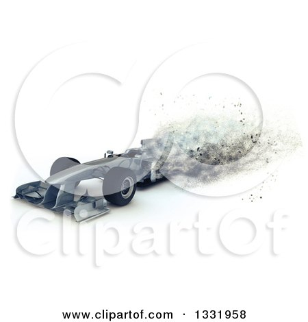 Clipart of a 3d F1 Race Car with Speed Blur Effect - Royalty Free Illustration by KJ Pargeter