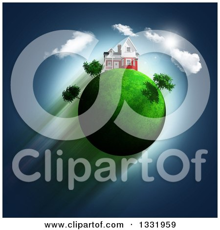 Clipart of a 3d House on Top of a Green Glassy Globe with Trees, Clouds and Sky - Royalty Free Illustration by KJ Pargeter