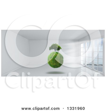 Clipart of a 3d Grassy Globe and Tree Floating Inside a White Room with Floor to Ceiling Windows - Royalty Free Illustration by KJ Pargeter