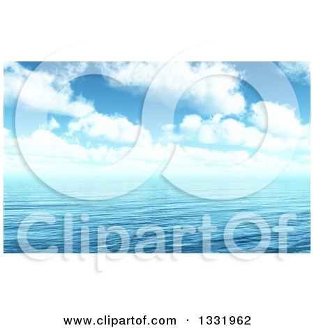 Clipart of a 3d Blue Cloudy Sky over Rippling Ocean Water - Royalty Free Illustration by KJ Pargeter
