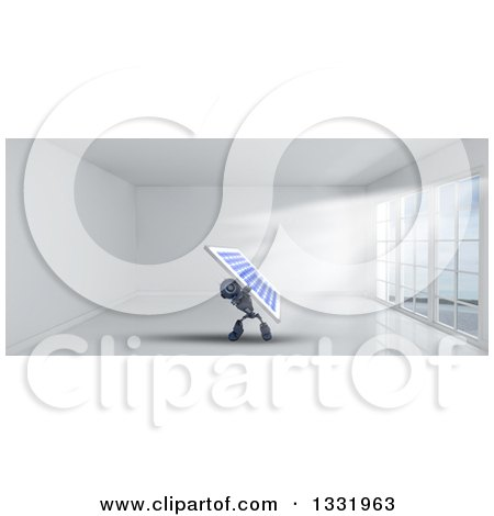 Clipart of a 3d Blue Android Robot Holding up a Solar Panel in a Room with Floor to Ceiling Windows - Royalty Free Illustration by KJ Pargeter