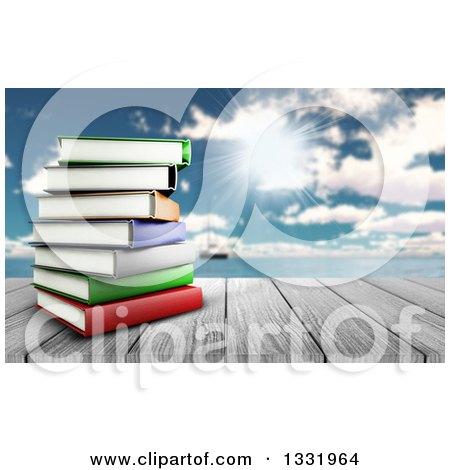 Clipart of a 3d Wood Table Top with a Stack of Books, Against a Blurred Sunny Sky with Clouds and a Boat at Sea - Royalty Free Illustration by KJ Pargeter