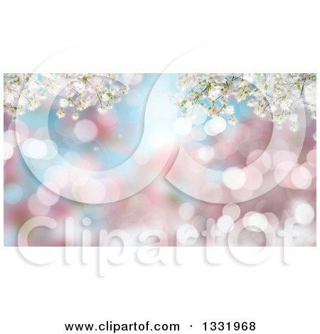 Clipart of a Background of 3d Cherry Blososm Branches over Blur and Flares - Royalty Free Illustration by KJ Pargeter