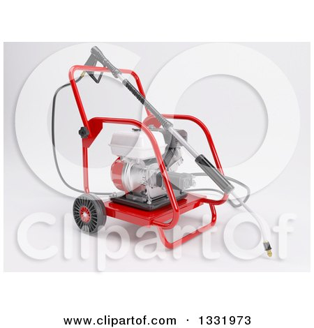 Clipart of a 3d Pressure Washer Machine, on Shaded White - Royalty Free Illustration by KJ Pargeter