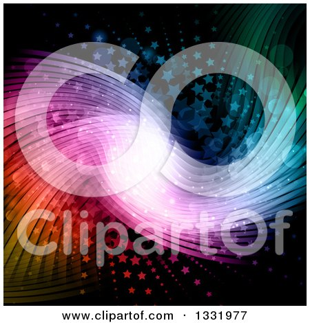 Clipart of a Colorful Backgorund of Waves and Stars on Black - Royalty Free Vector Illustration by KJ Pargeter