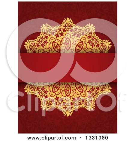 Clipart of a Gold Doily and Blank Text Bar over a Red Pattern - Royalty Free Vector Illustration by KJ Pargeter
