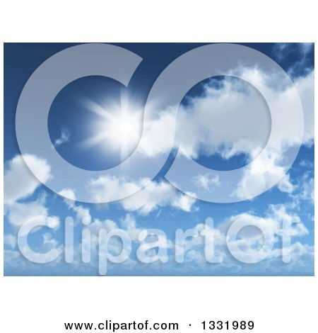 Clipart of a Blurred Sun Shining over Clouds in a Blue Sky - Royalty Free Vector Illustration by KJ Pargeter