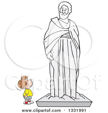 Clipart of a Cartoon Brunette White Boy Appreciating a Large Statue - Royalty Free Vector Illustration by Johnny Sajem