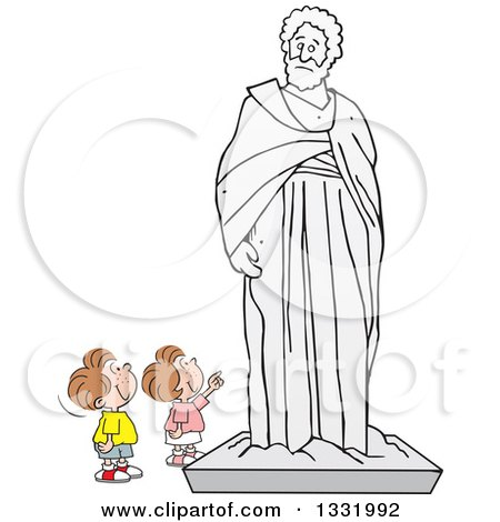 Clipart of a Cartoon Brunette White Boy and Girl Appreciating a Large Statue - Royalty Free Vector Illustration by Johnny Sajem
