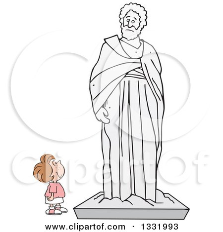 Clipart of a Cartoon Brunette White Girl Appreciating a Large Statue - Royalty Free Vector Illustration by Johnny Sajem