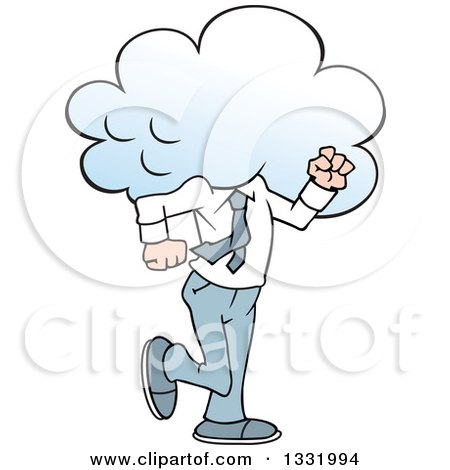 Clipart of a Cartoon White Business Man Walking with His Head in the Clouds - Royalty Free Vector Illustration by Johnny Sajem