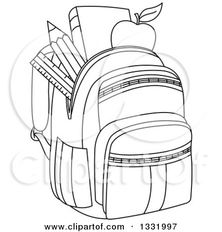 Lineart Clipart of a Black and White Backpack Stuffed with ...