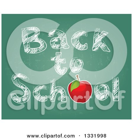 Clipart of a Red Apple and Sketched Back to School Text on a Chalkboard - Royalty Free Vector Illustration by Pushkin