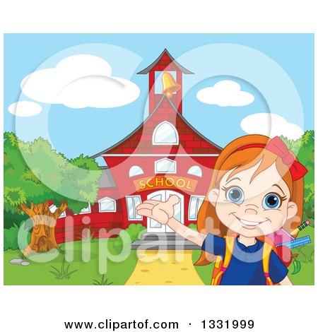 Clipart of a Happy Girl Student Presenting a Red School Building - Royalty Free Vector Illustration by Pushkin