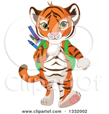 Clipart of a Cute Tiger Cub Student Walking with a Backpack Full of School Supplies - Royalty Free Vector Illustration by Pushkin